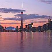 Skyline At Dusk From Centre Island Art Print