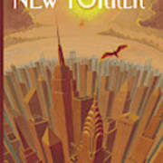 Skyline Of Nyc At Sunset With Icarus Flying Close Art Print