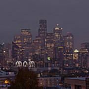 Skylines At Dusk, Seattle, King County Art Print