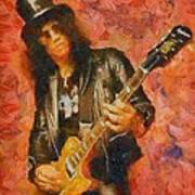 Slash Shredding On Guitar Art Print