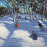 Sledging At Ladmanlow Art Print by Andrew Macara