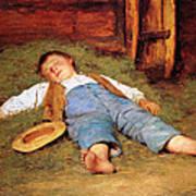 Sleeping Boy In The Hay Art Print
