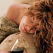 Sleeping Girl With A Glass Of Wine Art Print