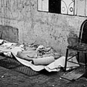 sleeping rough on the streets of Santiago Chile Art Print
