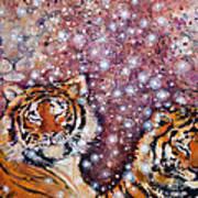 Sleeping Tigers Dream Such Sweet Dreams Kitties In Heaven Art Print