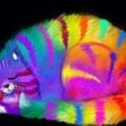 Sleepy Colorful Cat Art Print