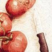 Sliced Tomatoes. Vintage Cooking Artwork Art Print