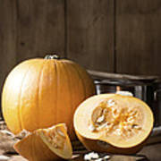 Slicing Pumpkins Art Print