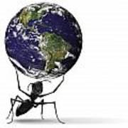 Small Ant Lifting Heavy Blue Earth Art Print