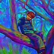 Small Boy In Large Tree Art Print