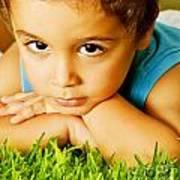 Small Boy On Green Grass Art Print