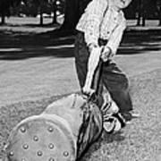 Small Boy Totes Heavy Golf Bag Art Print