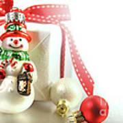 Small Christmas Ornament With Gift Art Print