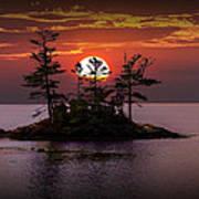 Small Island At Sunset Art Print
