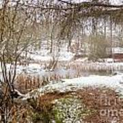 Small Lake In The Snow Art Print