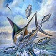 Small Tuna And Blue Marlin Jumping Art Print