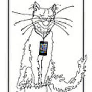 Smart Phone Cat Art Print