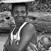 Smiling African Mum And Baby Art Print