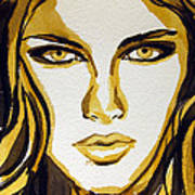 Smokey Eyes Woman Portrait Print by Patricia Awapara