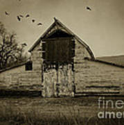 Smokey Prairie Barn  Art Print