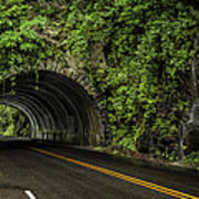 Smoky Mountain Tunnel In The Rain E123 Art Print