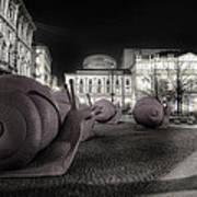 Snails Attack Milan Bw Art Print
