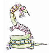 Snake Wearing A Scarf Art Print by Christy Beckwith