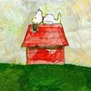 Snoopy Asleep On Red Doghouse Art Print