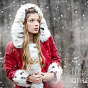 Snow Beauty In Red Art Print