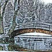 Snow Bridge Print by Rebecca Adams
