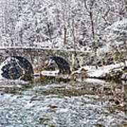 Snow Coming Down On The Wissahickon Creek Art Print