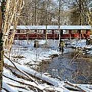 Snow Covered Bridge Art Print