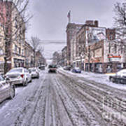 Snow Covered High Street And Cars In Morgantown Art Print