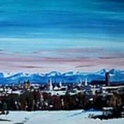 Snow Covered Munich Winter Panorama With Alps Art Print