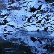 Snow Covered River Rocks Art Print