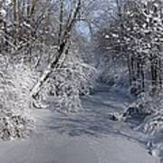Snow Covered River Art Print by Thomas Fouch