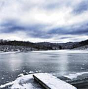 Snow Dock Frozen Lake Art Print