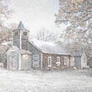 Snow Fall Old Church Art Print by Cindy Rubin