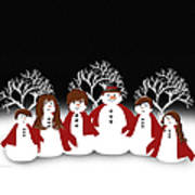 Snow Family 2 Square Art Print