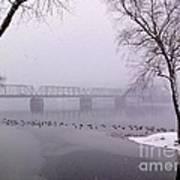Snow From Lewis Island Bridge Art Print