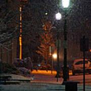 Snow In Downtown Grants Pass - 5th Street Art Print