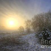 Snow Landscape Sunrise Art Print