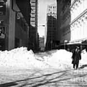 Snow On Broadway 1990s Art Print by John Rizzuto