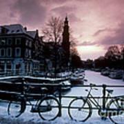 Snow On Canals. Amsterdam, Holland Art Print