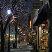 Snow On G Street 3 - Old Town Grants Pass Art Print