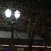 Snow On G Street In Grants Pass - Christmas Art Print