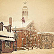 Snow On Main Street Chagrin Falls Oh Art Print by Dorothy Walker