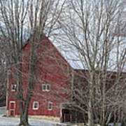 Snow On Red Barn Roof Art Print