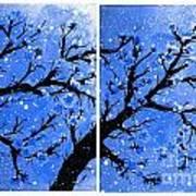 Snow On The Blue Cherry Blossom Tree Art Print