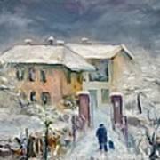 Snow On The Farmhouse Art Print